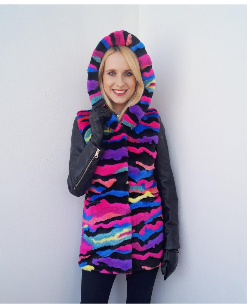 """Faux Fur Vest """"Rainbow Mood"""""""