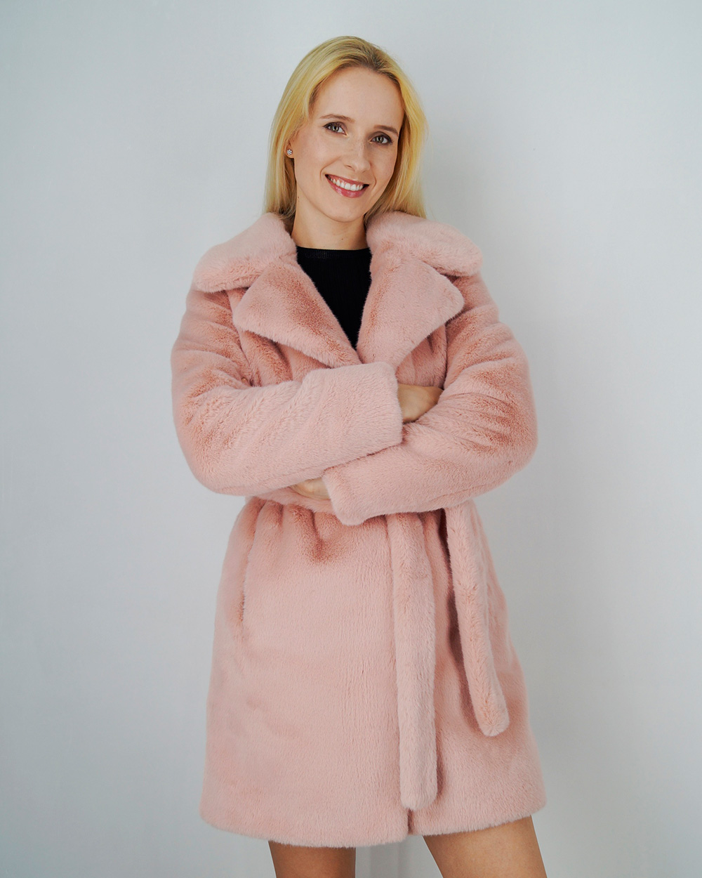 new high wholesale price new products Pink Faux Fur Coat | Pink Coat With Fur Collar | Light Pink Fur ...