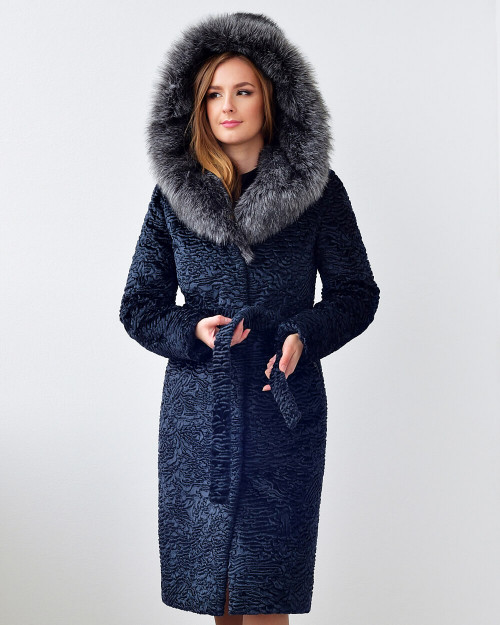 "Faux Fur Coat ""Glam Navy"""