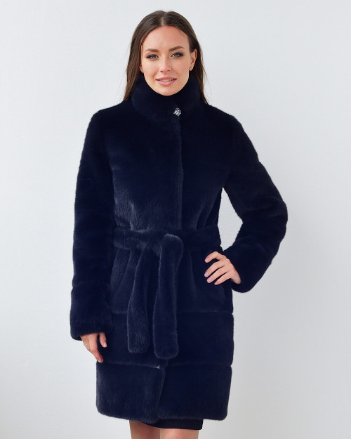 "Faux Fur Coat ""Chic Navy Touch"""
