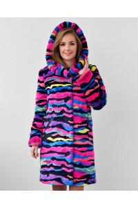 """Faux Fur Coat """"Pop of Color"""""""