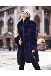 "Faux Fur Coat ""Black and Purple"""