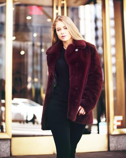 """Faux Fur Coat """"Purple Autumn"""""""