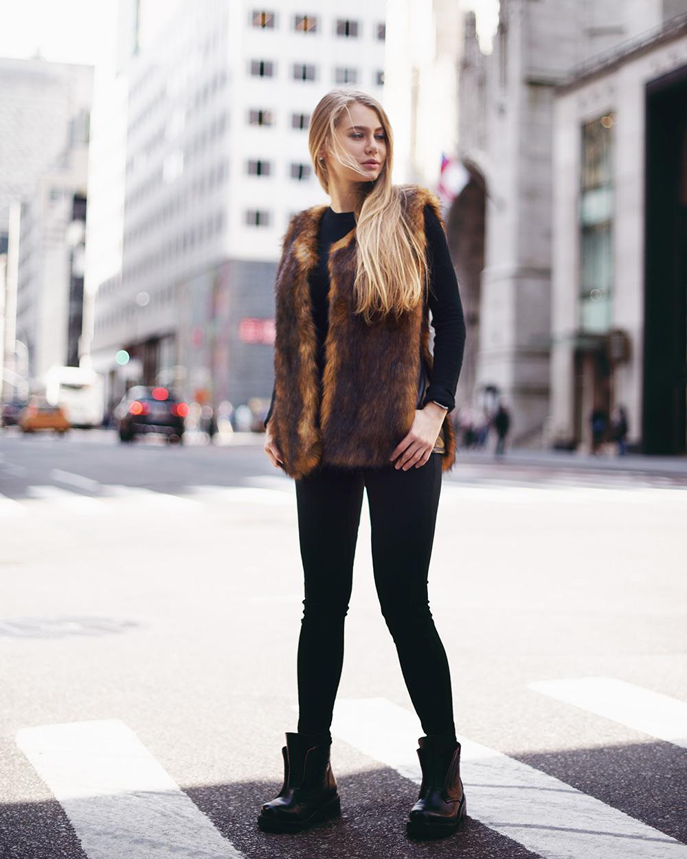 """Faux Fur Vest """"Golden Autumn"""""""
