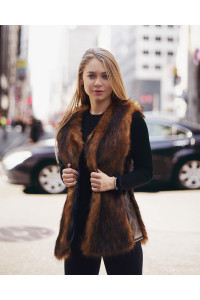 "Faux Fur Vest ""Golden Autumn"""