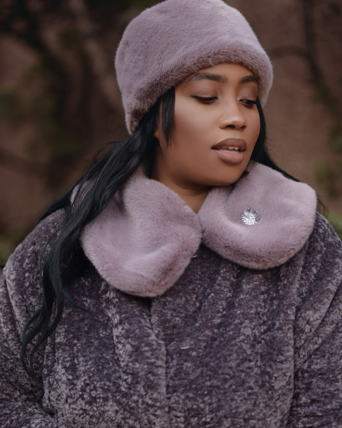"Faux Fur Collar  ""Tea Rose"""