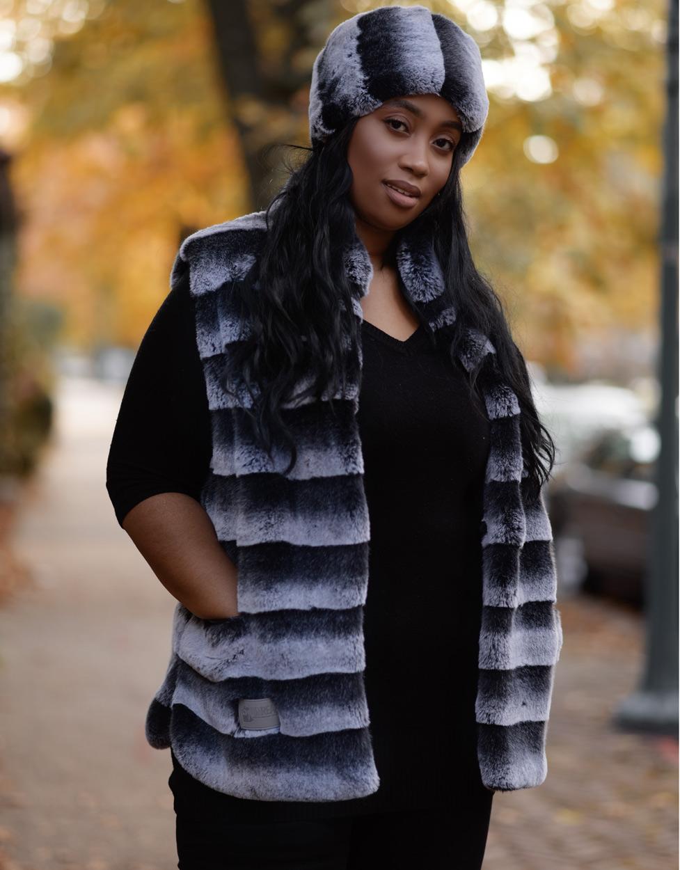 """Faux Fur Vest """"Gray and Black"""""""