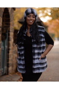 "Faux Fur Vest ""Gray and Black"""