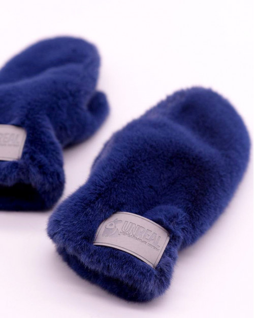 "Faux Fur Mittens ""Blue"""