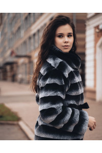 "Faux Fur Coat  ""Gray and Black"""
