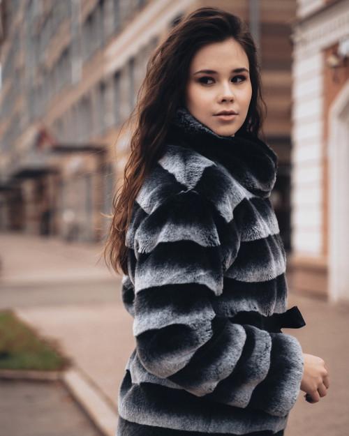 "Faux Fur Coat  ""Gray and Black"""