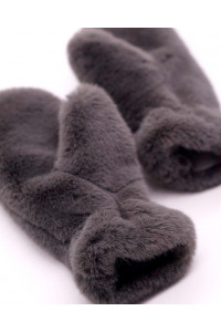 "Faux Fur Mittens ""Dark Gray"""