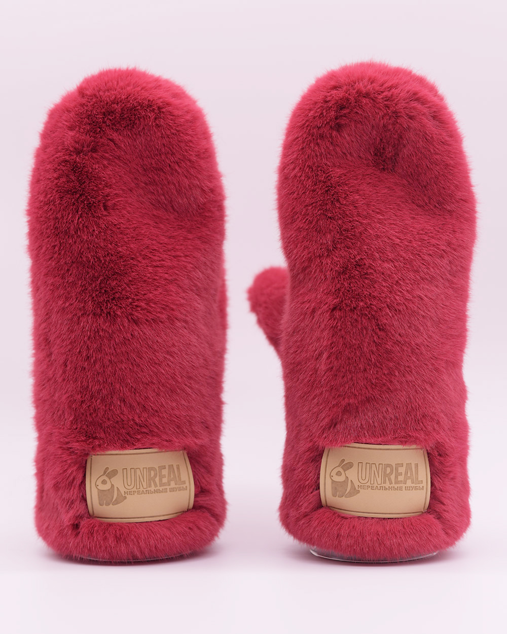 """Faux Fur Mittens """"Hot Pink"""""""