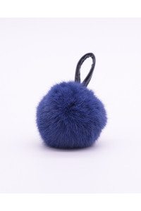 "Faux Fur Pompons ""Navy Blue"""