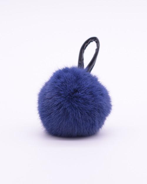 """Faux Fur Pompons """"Navy Blue"""""""