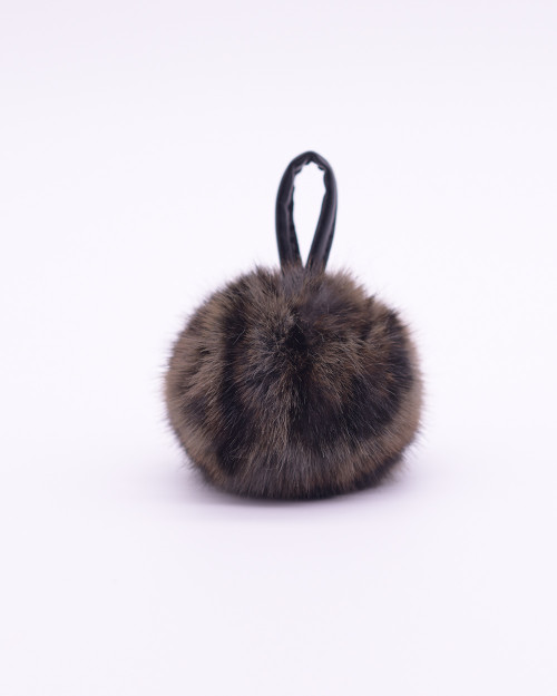 """Faux Fur Pompons """"Gray Panther"""""""