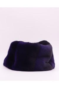"""Faux Fur Hat """"Black and Blue"""""""