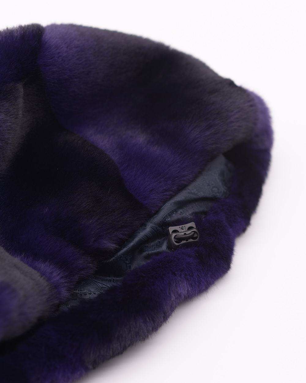 "Faux Fur Hat ""Black and Blue"""