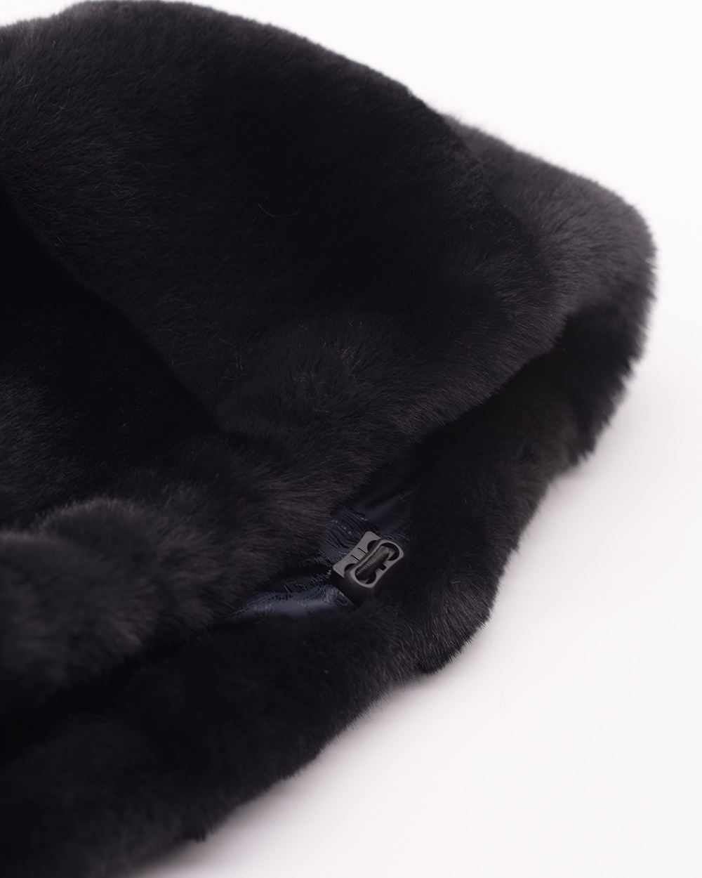 """Faux Fur Hat """"Black and Gray"""""""