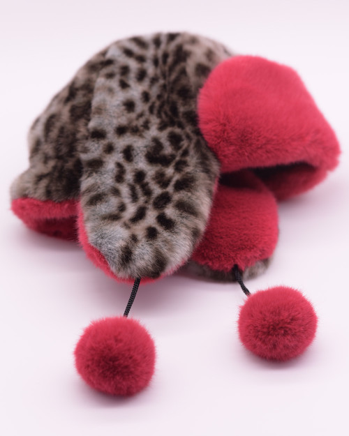 "Faux Fur Hat  ""Wild Cat Red"""