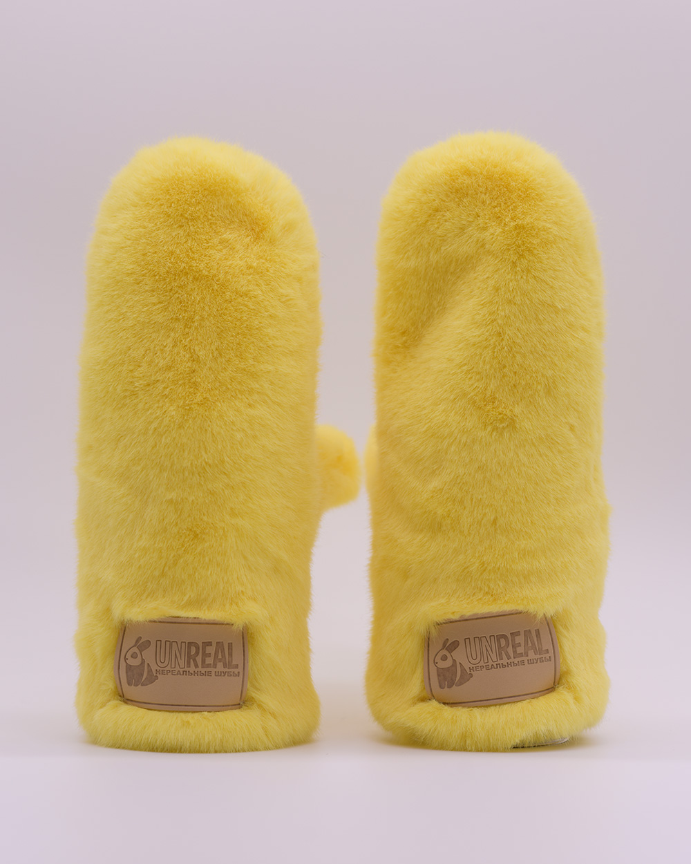 "Faux Fur Mittens ""Yellow"""