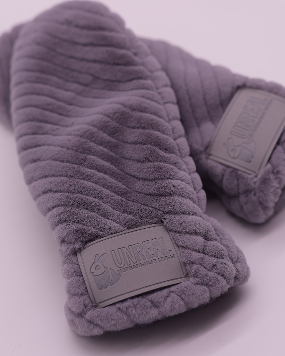 "Faux Fur Mittens ""Gray"""