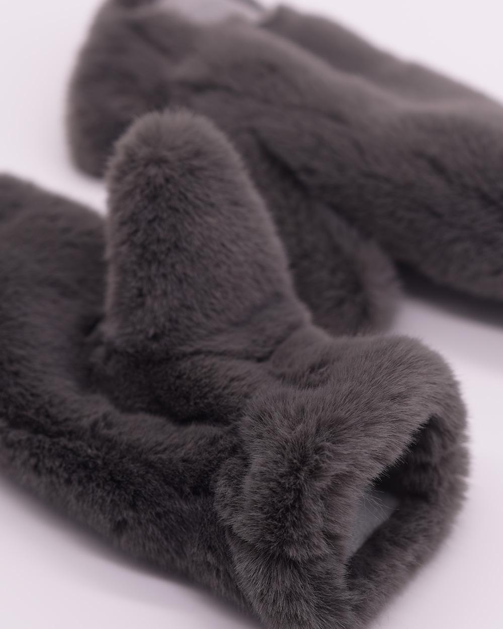 """Faux Fur Mittens """"Dark Gray"""""""