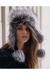 "Faux Fur Hat ""Gray Fox"""