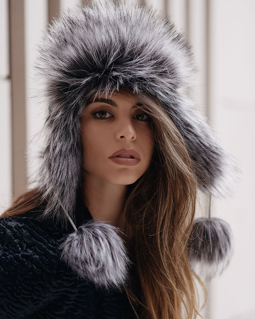 "Faux Fur Hat ""Gray Fox"""