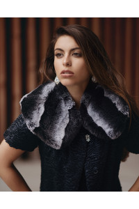"Faux Fur Collar ""Gray and Black"""