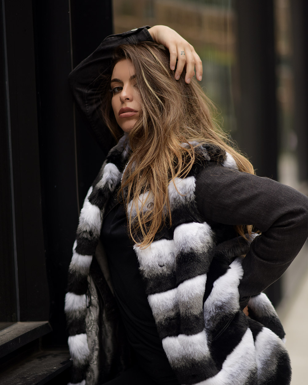 "Faux Fur Vest ""Gray and White"""