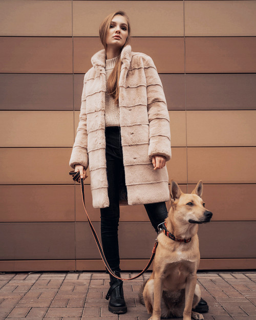 "Faux Fur Coat ""Pink Snowfall"""
