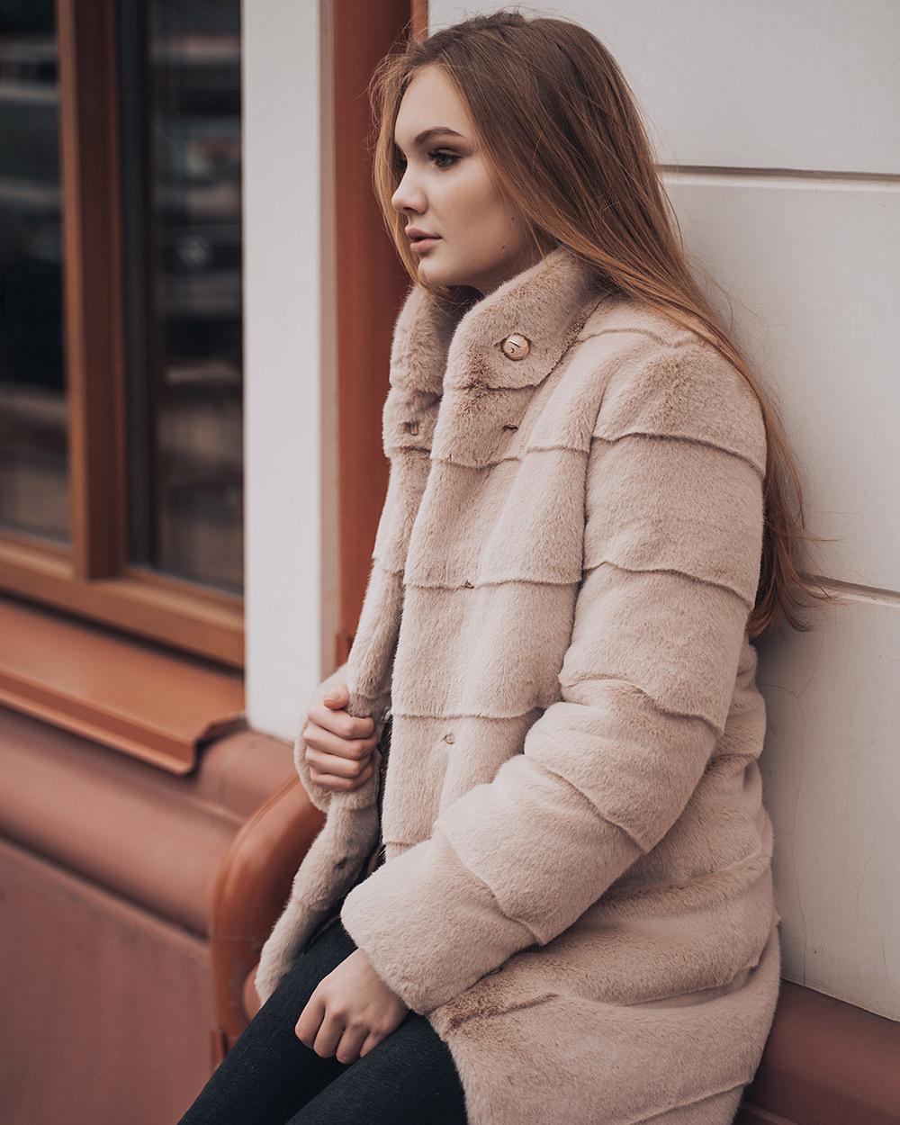 """Faux Fur Coat """"Pink Snowfall"""""""