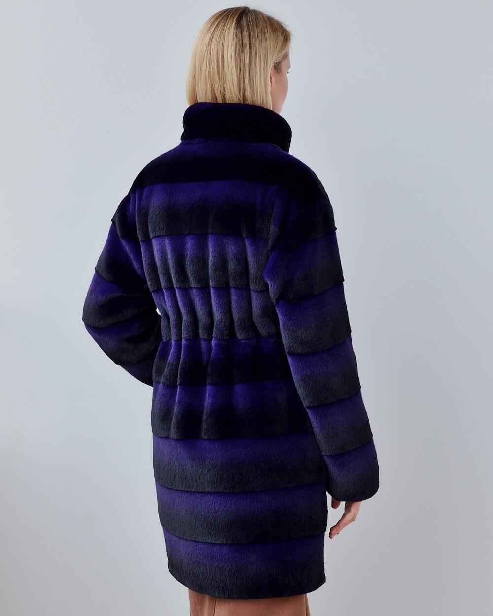 """Faux Fur Coat """"Black and Purple"""""""