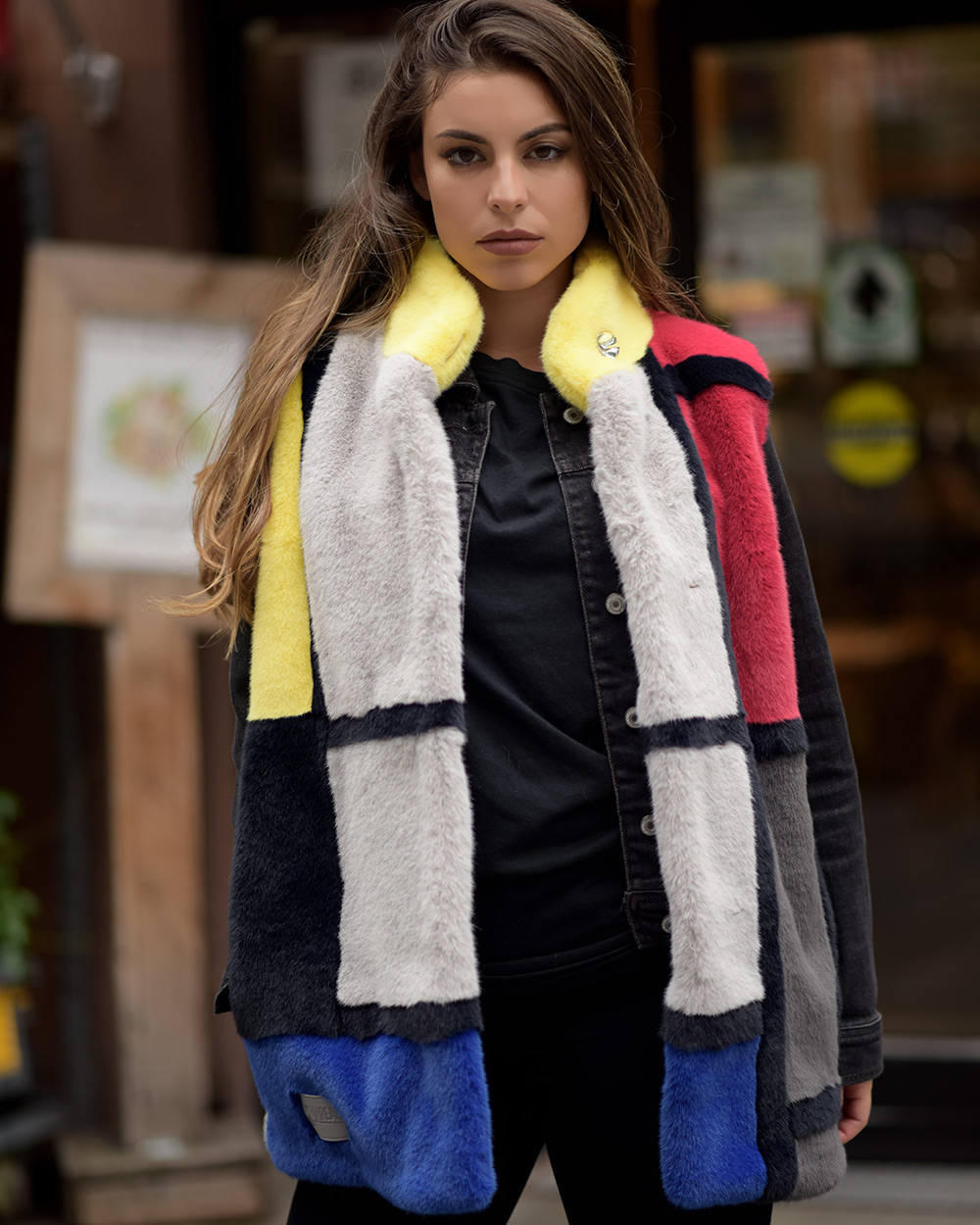 """Faux Fur Vest """"Squares"""""""