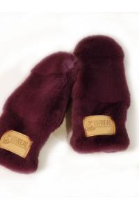 "Faux Fur Mittens ""Burgundy"""