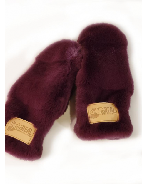 "Faux Fur Mittens ""Burgundy"""