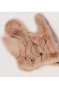 """Faux Fur Mittens """"Pinky Beige"""""""