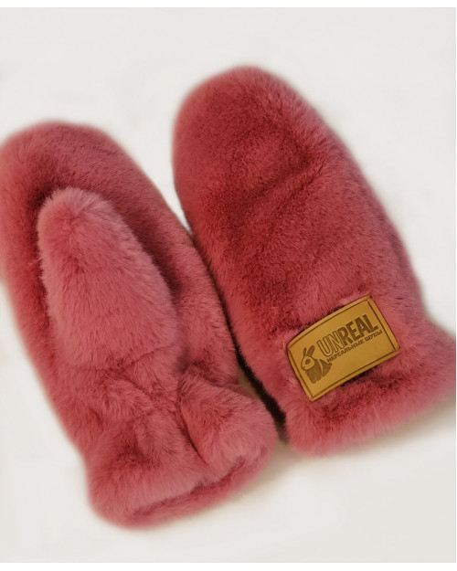 "Faux Fur Mittens ""Punch Pink"""