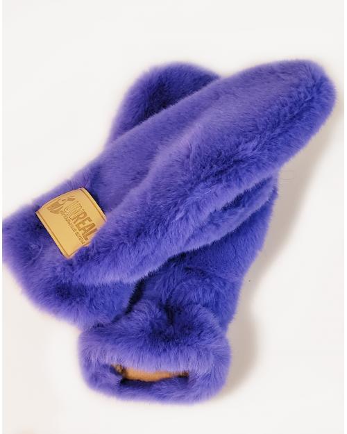 """Faux Fur Mittens """"Lapis Blue"""""""