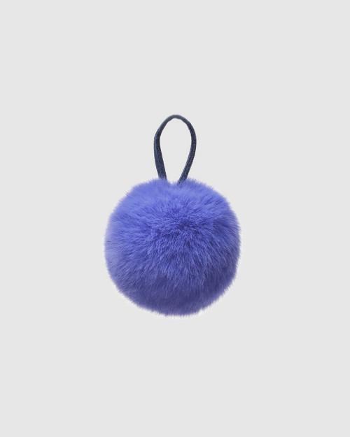 """Faux Fur Pompons """"Lite Blue with logo"""""""