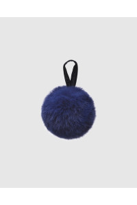 "Faux Fur Pompons ""Blue with logo"""