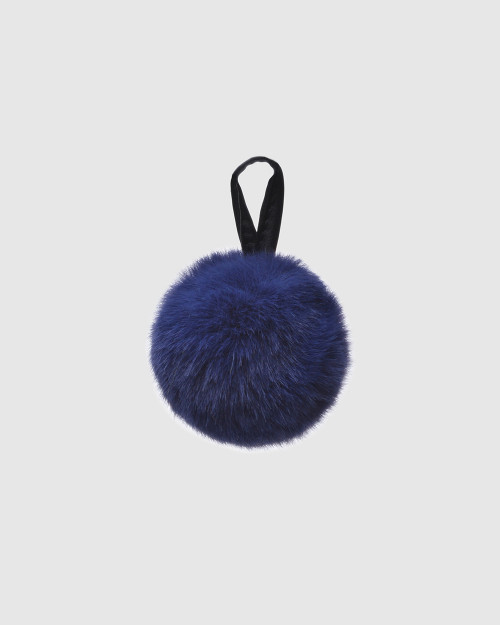 """Faux Fur Pompons """"Blue with logo"""""""