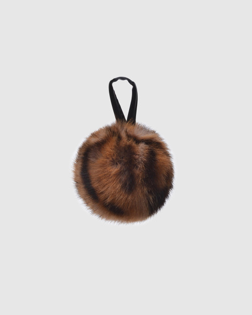 "Faux Fur Pompons ""Yellow Panther with logo"""