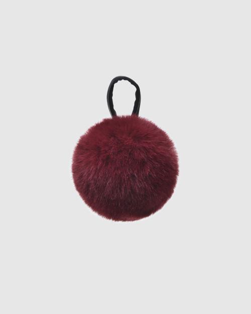 """Faux Fur Pompons """"Purple with logo"""""""