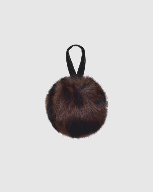 """Faux Fur Pompons """"Gray Panther with logo"""""""