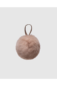 "Faux Fur Pompons ""Dark beige with logo"""