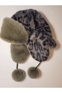 "Faux Fur Hat ""Gray Leopard"""