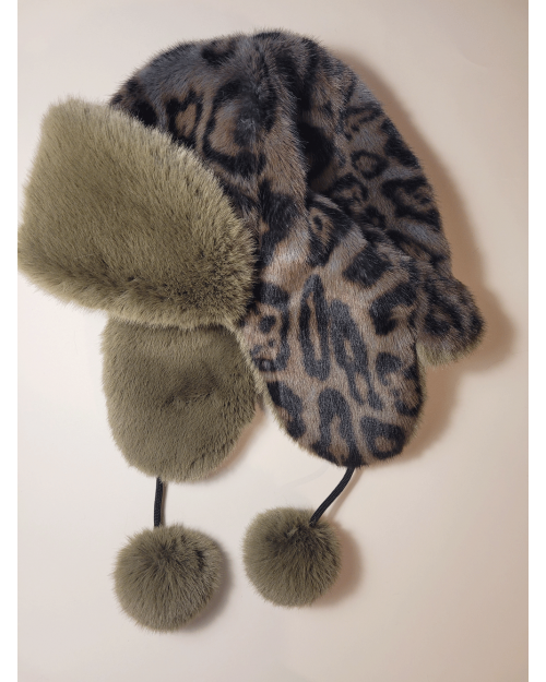 "Faux Fur Hat ""Gray Leopard"""