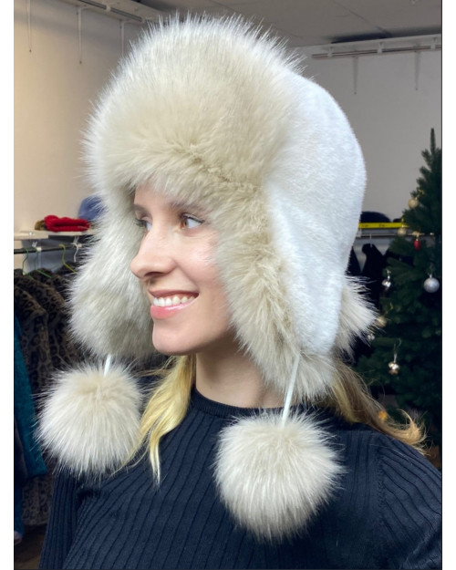 "Faux Fur Ushanka Hat ""White Fox"""